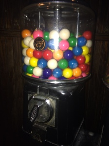 upper west side gum ball machine in washroom at a restaurant