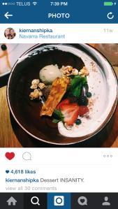 Kiernan Shipka's Instagram picture of Navarra's 'Dessert INSANITY